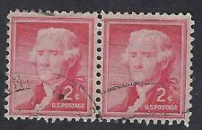 #1033a 2¢ JEFFERSON  SILKNOTE PAPER LIBERTY ISSUE PAIR (Collectible Stamps)