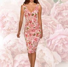 44bdaa68b3 DOLCE   GABBANA ITALY silk crepe rose print dress IT size 44-46 Clearance!
