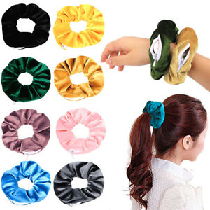 VSCO Velvet Zip Hidden Pocket Scrunchie Elastic Hair Tie Festival Wristband 1pc
