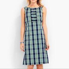 Talbots Womens Coastal Plaid Summer Dress Size 8P Nwot