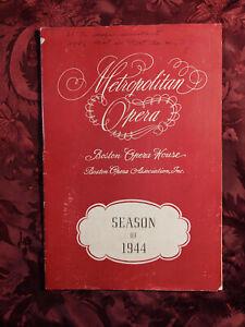 RARE NEW YORK METROPOLITAN OPERA program Boston 1944 Gounod's FAUST