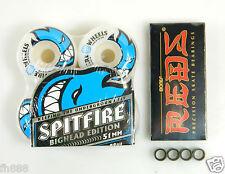 Spitfire 51mm Live to Burn Skateboard Wheels + Bones Reds Bearings + Spacers