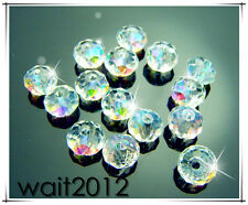 Free 30PCS #5040 TOP Clear AB crystal Rondelle Charms Pearls Spacer Beads 10mm