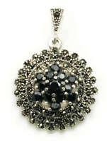 Sterling Silver, Garnet & Marcasite ~ Silver Pendant