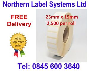 25mm x 15mm WHITE Direct Thermal Labels 2,500 per roll for Zebra type printer