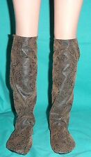 Brown Faux Tooled Leather Knee High Soft Sole Boots 4 My Size Barbie Doll MYBT18