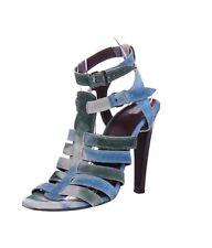 BALENCIAGA Blue & Green Suede Tie-Dye Cage Multistrap Buckle Sandal Pumps US 8.5