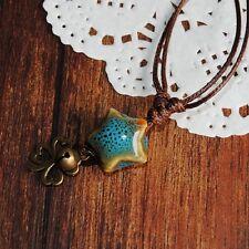 handmade Cord Tassel Pendant Necklace STAR Ceramic Bead 4 leaf clover US un073