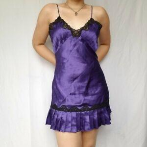 Vintage 90's Victoria's Secret Satin Chemise Negligee Nightgown Purple Medium