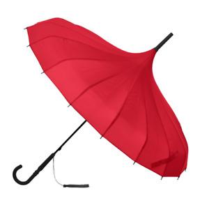 SOAKE Stunning Red Classic Plain Pagoda Style Long Walking Umbrella Large