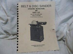 POWERMATIC 30 - 33 Belt Sander-Operator's Parts Manual-