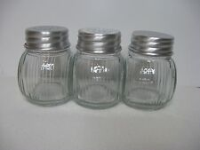 Set of 3 Small Glass Seller Spice Jars Tin Punched Lid Vintage Farmhouse New