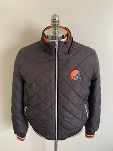 Womens Cleveland Browns Quilted Puffer Jacket Coat XL NFL Football