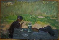 Russian Ukrainian Soviet Oil Painting figure man Impressionism rural lunch yield