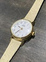 Vintage~Woman's Timex Indiglo~Gold Tone~White Dial~New Band~New Battery~Works!