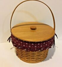 Longaberger Hostess Sewing Basket with Protector Woodcraft Lid & Liner