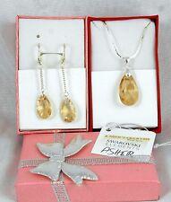 Silber SchmuckSet Ohrringe Kette mit Original Swarovski Kristallen Hook Golden