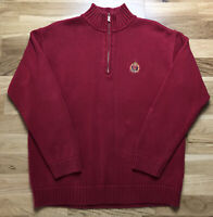 Womens Lauren Ralph Lauren Jumper Large Quarter Zip Red Embroidery Pullover