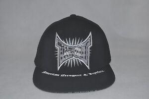 New Tapout Men's Black/White Baseball Hat Flat Bill Stretch Fit Cap L/XL 7 3/8-8