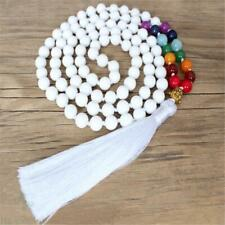 6mm white agate colorful Gemstone 108 beads Mala Bracelet Handmade energy Reiki