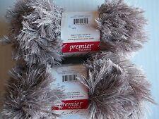 Premier Lash Lux eyelash yarn, Coyote (tan), lot of 2 (33 yds each)