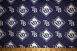 "NEW MLB COTTON Fabric 1/4 yard=9""x44"" TAMPA BAY DEVIL RAYS BLUE AWESOME DIY MASK"