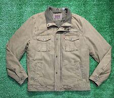 Levis Zip Snap Front Brown Mocha Canvas Trucker Jacket Size Large Quilt Lined