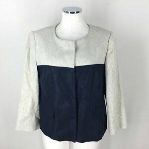 Banana Republic  XL 14 Colorblock Linen Blazer navy Beige Oatmeal jacket Wow