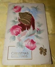 Vintage Christmas Greetings Postcard with Raised Image-Made in Germany