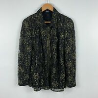 Liz Davenport Womens Blouse Size 12 Black Floral Long Sleeve Collared Vintage