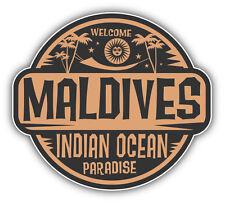 Maldives Welcome Label Car Bumper Sticker Decal 5'' x 4''
