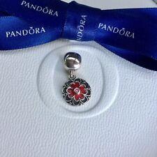 Authentic Genuine Pandora Hanging Red Geranium Flower CZ Clip Charm #790957CZS