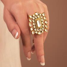 Bridal Ring Indian Gold plated Kundan Bridal Jewelry Bollywood Fashion Jewellery