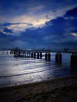 NATURE BEACH BUILD PIER TWILIGHT BLUE SEA POSTER ART PRINT HOME PICTURE BB1302B