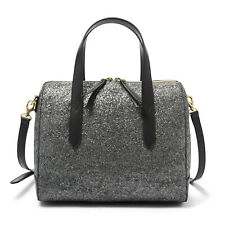 NWT Fossil Sydney Crossbody Satchel Gunmetal Glitter Handbag SHB2353060 $138 Ret