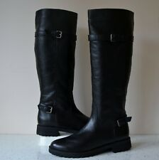 NEW BERTIE BLACK LEATHER BUCKLE DETAIL KNEE HIGH BIKER BOOTS UK 8 EU41