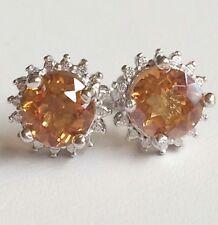 Sterling Silver Citrine Halo Earrings Gemstone Orange Peach 925 USA Seller
