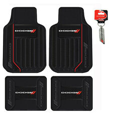 New 5pc Dodge Elite Racing Stripes Front Back Rubber Floor Mats & Keychain Set