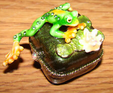 Pewter, Tree Frog Trinket Box (4028) Australian Crystals, Baked Enamel Finish