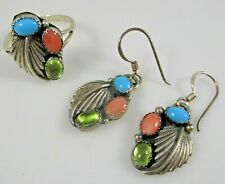 Native Ring and Earrings Set Vintage Sterling Silver Signed Size 7.75    7.6g