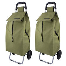 Sprint Shopping Trolley Foldable Collapsible Shop Cart Basket 3 Designs Sage Green 4691SG
