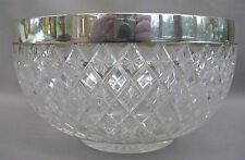 A Gorgeous Cut Glass Lead Crystal late 19th Century Bowl with Silver Plated Rim