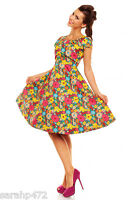 LADIES RETRO SWING VINTAGE 50'S STYLE SWING DRESS CAP SLEEVE SIZE 10-20 PRETTY