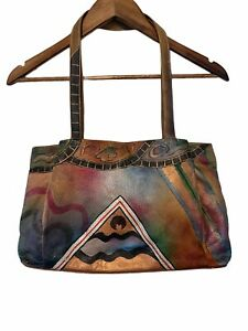 Anuschka Leather Hand Painted Southwest Abstract Artwork 3 Compartment Handbag
