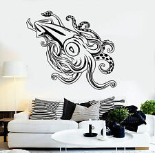 Vinyl Wall Decal Giant Squid Ocean Sea Monster Fishing Stickers (1185ig)