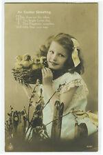 c 1912 Vintage Child Children GIRL w/ BABY DUCKS Duckling Easter photo postcard