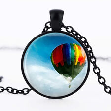 Up hot air balloon photo dome Black Cabochon Glass Necklace chain Pendant