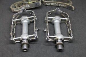 NO RESERVE Vintage pedali Campagnolo 1037 NUOVO RECORD pedals & Binda straps