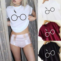 New Womens Casual T-Shirt Harry Potter Glasses Print Short Sleeve Basic Tee Tops