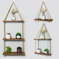 Wooden 1/2/3 Tiers Hanging Rope Shelf Wall Mounted Floating Shelf Storage Rustic